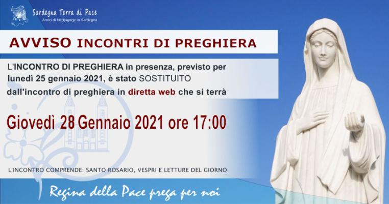 Sospensione Incontro Preghiera 25 Gennaio 2021